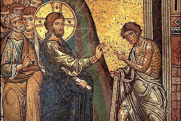 Leper - Cathedral-of-Monreale-mosaic-leper-wikipedia-Pd-740x493